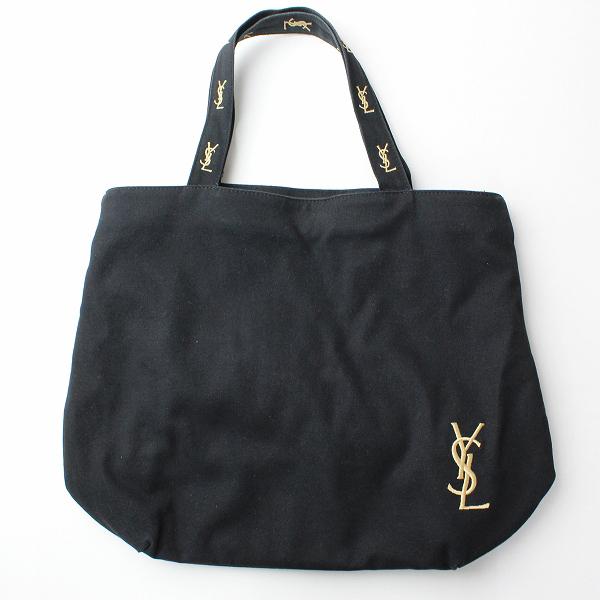 YSL YVES SAINT LAURENT イヴ サンローラン ロゴ刺繍 キャンバストートバッグ/ブラック スクエア型 TOTE BAG【2400010443435】