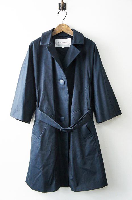 美品 定価11万 J & M Davidson ジェイアンドエムデヴィッドソン ベルテッド ステンカラーコート 8/ネイビー 【2400010666186】