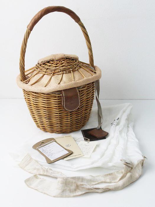 美品 ebagos エバゴス フタ付 リボン 紅籐かごバッグ/*マグネット バスケット カゴ 鞄【2400010668876】