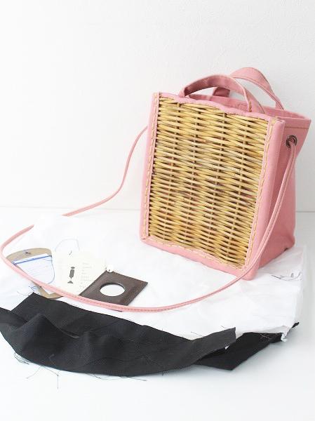 2018SS 春夏 ebagos エバゴス KAGO BUKURO キャンバス×紅籐 ショルダーバッグ/bag カバン ピンク【2400010745997】