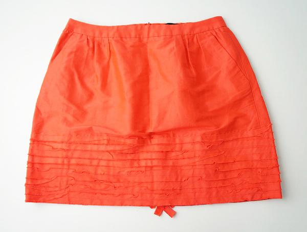 【オータムセール20%OFF!】Drawer ドゥロワー コットン シルク ティアード スカート 40///オレンジ レッド ミニ丈【2400011000934】