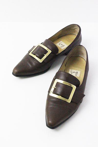 【スプリングセール20%OFF!】ING イング 金具 ベルト パンプス 22/ブラウン 茶 シューズ 靴 クツ フラット【2400011004246】