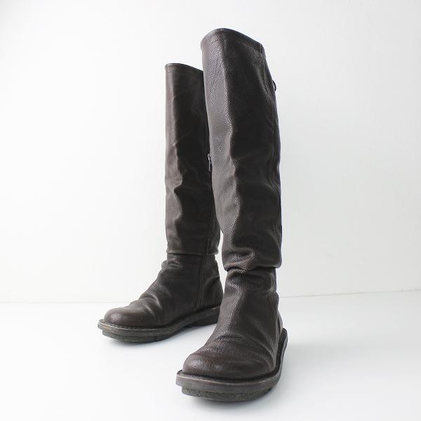 trippen トリッペン レザー ロング ブーツ 37/靴 ダークブラウン くつ クツ シューズ【2400011015945】