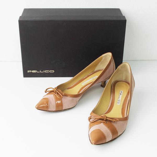PELLICO ペリーコ ポインテッドトゥ リボン パンプス 37/ベージュ クツ 靴 シューズ ローヒール【2400011017963】