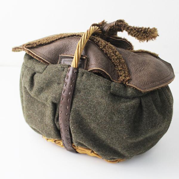 ebagos エバゴス メルトン×ラムレザー×ラムファー 紅籐 かごバッグ/モスグリーン 鞄 小物【2400011023315】