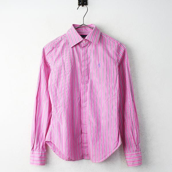 RALPH LAUREN ラルフ ローレン ポニー刺繍 ストライプ 長袖 シャツ 0/ピンク トップス【2400011027726】