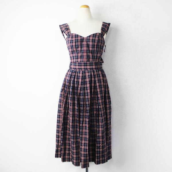新品 Lois CRAYON ロイスクレヨン チェック セットアップ M/ビスチェ スカート ネイビー【2400011032560】