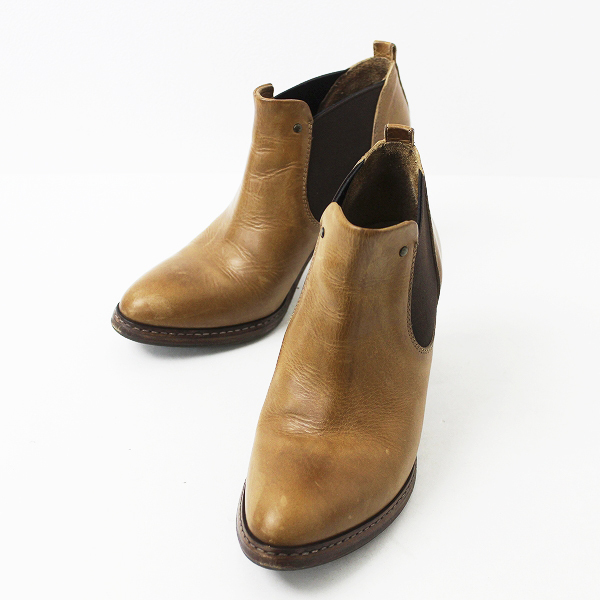 BUTTERO ブッテロ サイドゴア レザー ショート ブーツ 37/ブラウン 靴 シューズ ヒール 【2400011035264】