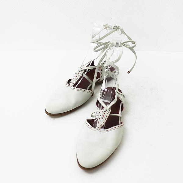 【期間限定30%OFF!】【スプリングセール10%OFF!】HENRY BEGUELIN エンリーベグリン アンクルストラップ フラット サンダル 23.5/ホワイト 靴 シューズ 【2400011035288】