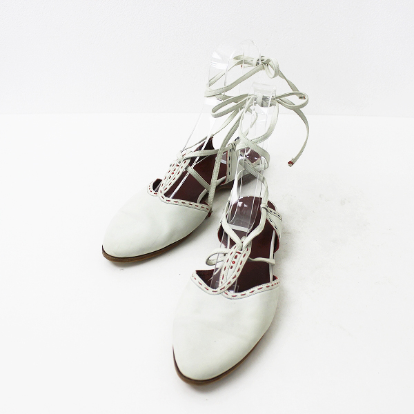 HENRY BEGUELIN エンリーベグリン アンクルストラップ フラット サンダル 23.5/ホワイト 靴 シューズ 【2400011035288】