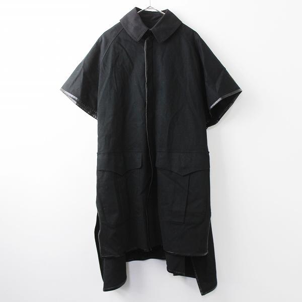 Y's Yohji Yamamoto ワイズ ヨウジヤマモト コットン ショート スリーブ コート 2/アウター 上着 ブラック ポンチョ風【2400011036872】