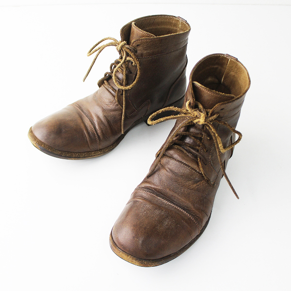 CHRISTIAN PEAU クリスチャンポー レザー レースアップ ショート ブーツ/ブラウン シューズ 靴 クツ【2400011038364】