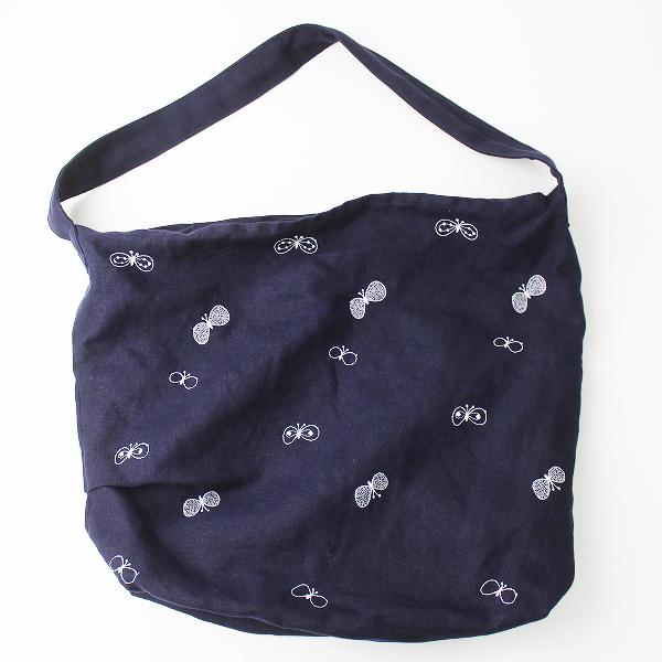 2017SS 春夏 mina perhonen ミナペルホネン vs9887 choucho ボディバッグ 大/ ネイビー チョウチョ 刺繍 鞄 カバン bag【2400011066398】