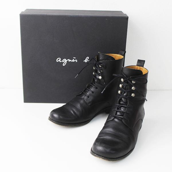 agnes b. アニエスベー レースアップ ブーツ 37/ブラック 靴 くつ ローヒール【2400011068170】