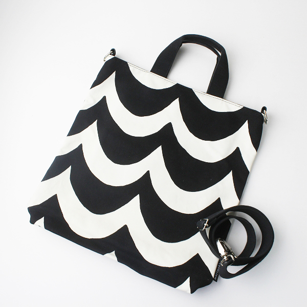 定価2.2万 Marimekko マリメッコ LAINE ライネ SARA トート ショルダーバッグ/ホワイト × ブラック 鞄 BAG【2400011071460】