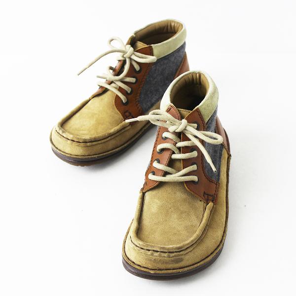 BIRKENSTOCK ビルケンシュトック Footprints フェルト スエード ブーツ 24cm/靴 キャメル グレー レースアップ【2400011077387】