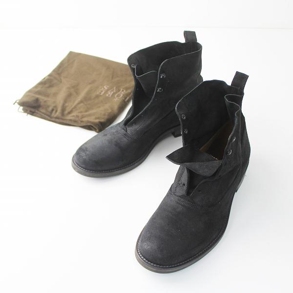 SARTORE サルトル スエード レザー レースレス ショート ブーツ 40///ブラック 靴 メンズ くつ【2400011082992】