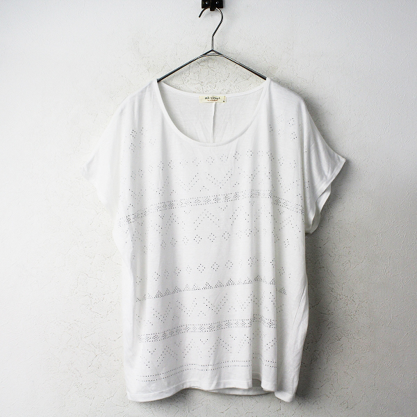 大きいサイズ sab street サブストリート ビジュー Tシャツ 19号/オフホワイト トップス カットソー 【2400011090300】
