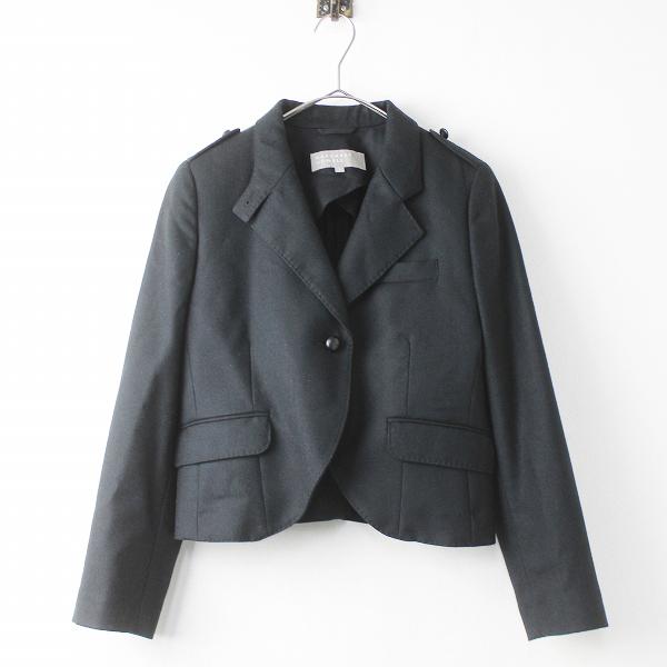 MARGARET HOWELL マーガレットハウエル ウール シングル ジャケット 1/ブラック ショート丈 エポレット スタンドカラー【2400011095176】