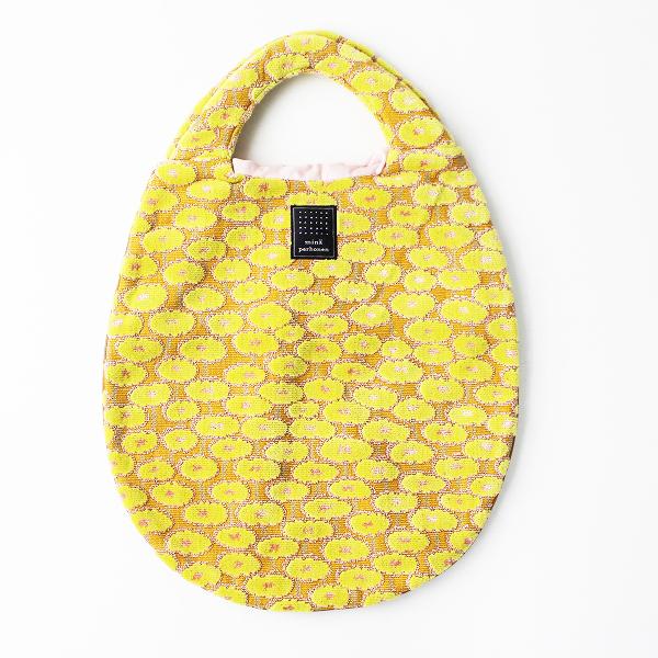 美品 mina perhonen ミナペルホネン centofiori egg bag エッグバッグ/イエロー フラワー トート BAG【2400011097507】