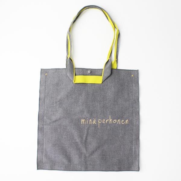 美品 mina perhonen ミナペルホネン ravioli bag ラビオリバッグ/グレー × イエロー トートバッグ ロゴ【2400011097538】