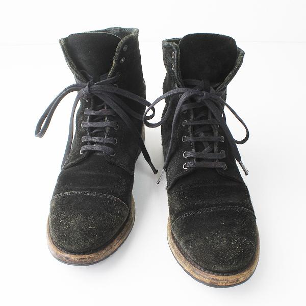 【ウィンターセール10%OFF!】SENDRA センドラ スエード レザー レースアップ ショート ブーツ 38/ブラック シューズ 靴 【2400011101464】