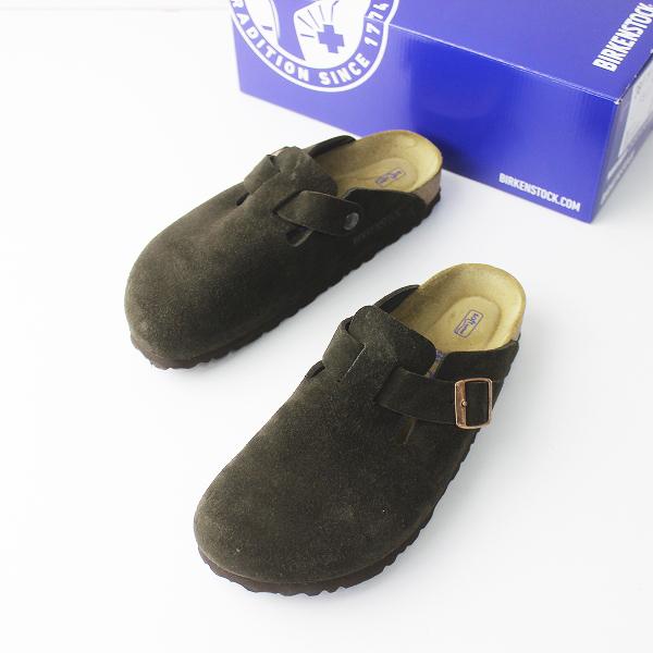 美品 BIRKENSTOCK ビルケンシュトック Boston ボストン スエード レザー サンダル 38/靴 くつ ぺたんこ【2400011107718】