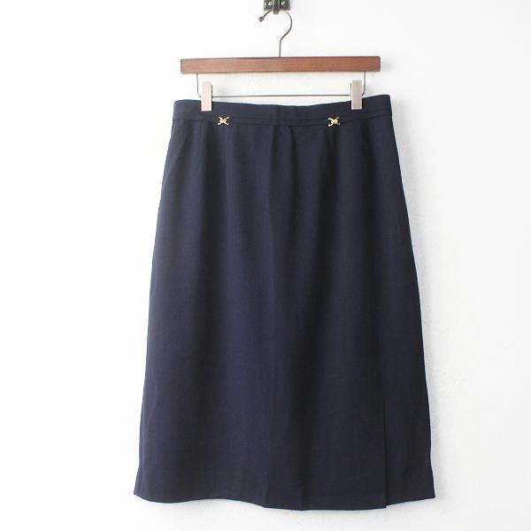 大きいサイズ Leilian レリアン ウール 装飾 ロング スカート 15+/ボトムス ネイビー Aライン イージー【2400011113009】