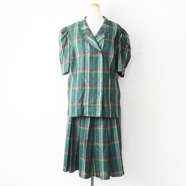 大きいサイズ Leilian レリアン チェック ブラウス スカート セットアップ 13/グリーン パフスリーブ ロング【2400011113191】