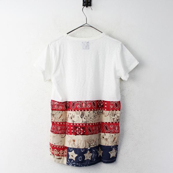 美品 visvim ビズビム FLAG TEE S/S STARS フラッグ Tシャツ 2 / ホワイト バンダナ パッチワーク【2400011116741】