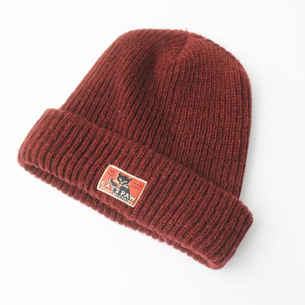 CAT'S PAW キャッツポウ ロゴ ニット帽/レッド エンジ 小物 帽子 キャップ 【2400011118271】