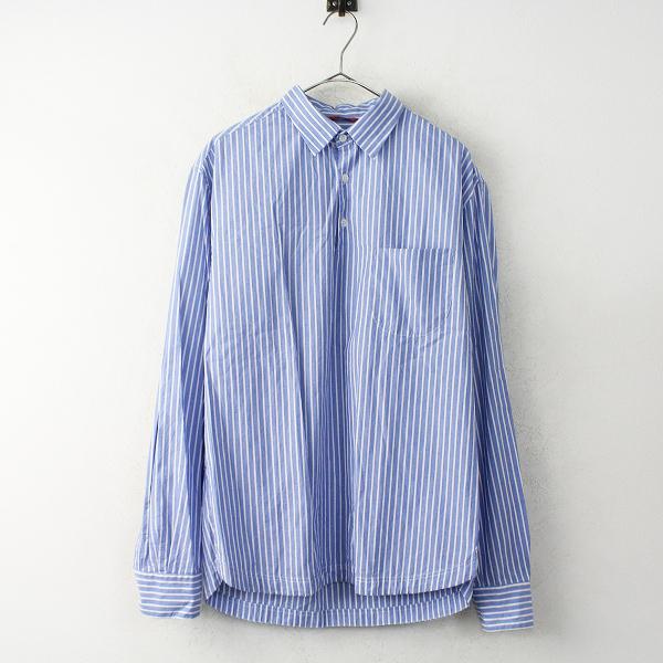美品 2017AW 定価2万 BARENA VENEZIA バレナ ヴェネツィア Men's Shirts ストライプ ブラウス 50/ライトブルー トップス【2400011119223】
