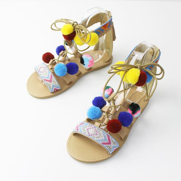 極美品 AS KNOW AS ASZAKKA アズノゥアズ アザッカ ボンボン付 サンダル 24.5/ベージュ シューズ 靴 【2400011122742】