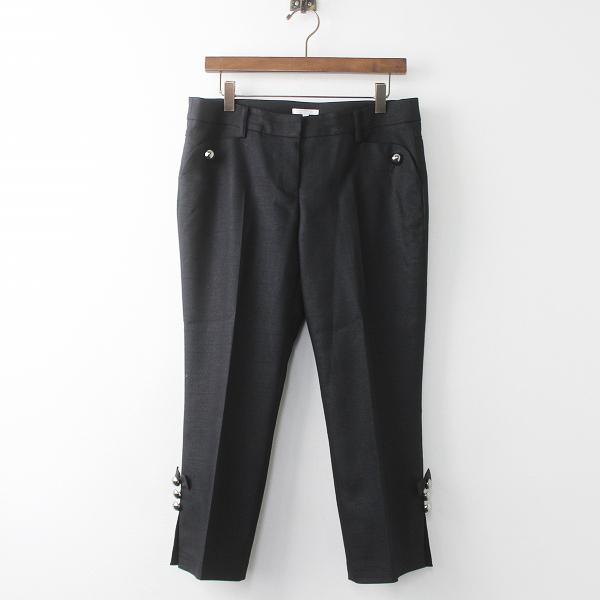 大きいサイズ TO BE CHIC トゥー ビー シック 裾リボンボタン クロップド パンツ 42/ブラック ボトムス【2400011124432】