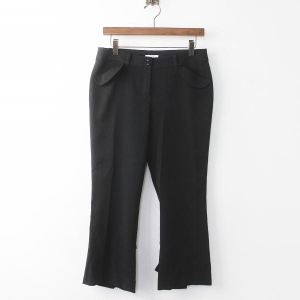 TO BE CHIC トゥー ビー シック 裾タフタリボン ストレッチ パンツ 40/ブラック ボトムス【2400011124524】