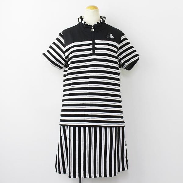 Black&White ブラック アンド ホワイト ボーダー セットアップ ゴルフウェア 3/トップス スカート【2400011124715】