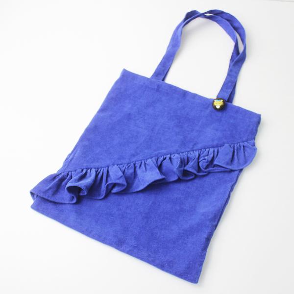 未使用 merlot メルロー コーデュロイ フリル トートバッグ/ブルー 手提げ ボタン キツネ 鞄【2400011134097】