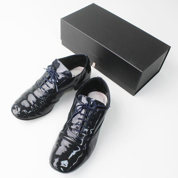 repetto レペット zizi エナメル ダンス シューズ 37/ネイビー 靴 レースアップ 【2400011138712】