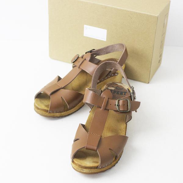 EXPERT エキスパート レザー ストラップ サンダル 38/ブラウン 靴 くつ ローヒール シューズ【2400011139511】