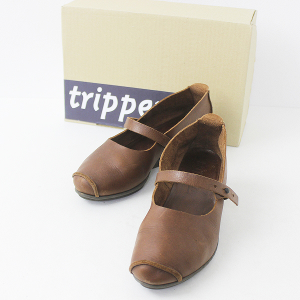 trippen トリッペン TIDY レザー ストラップ パンプス 38/ブラウン シューズ【2400011141354】