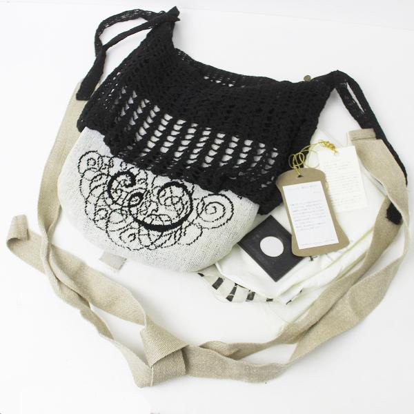 ebagos エバゴス シェニール織り ショルダーバッグ/ホワイトベージュ×ブラック 斜めがけ BAG カバン 鞄【2400011142993】