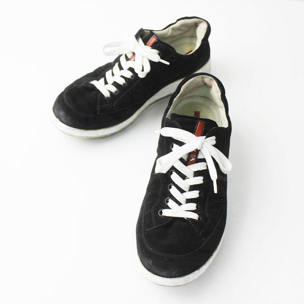 メンズ PRADA プラダ スエード スニーカー 4E 2641 7/ブラック 黒 クロ シューズ 靴 クツ MENS【2400011143662】