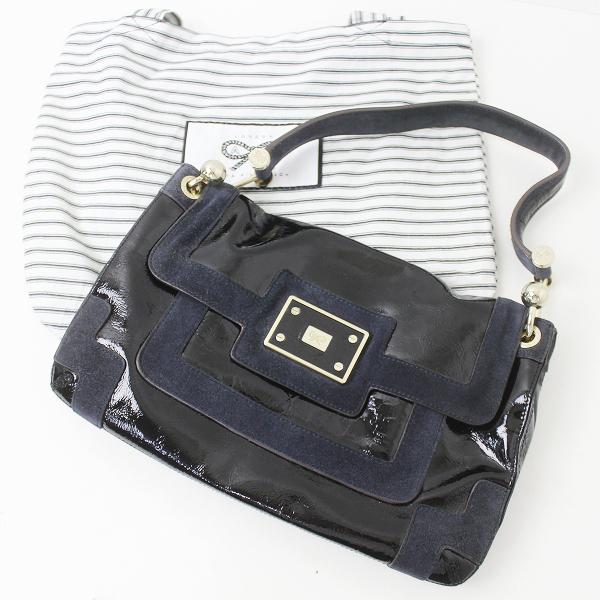 ANYA HINDMARCH アニヤハインドマーチ スエード × パテント ハンド バッグ/鞄 ブラック【2400011146229】