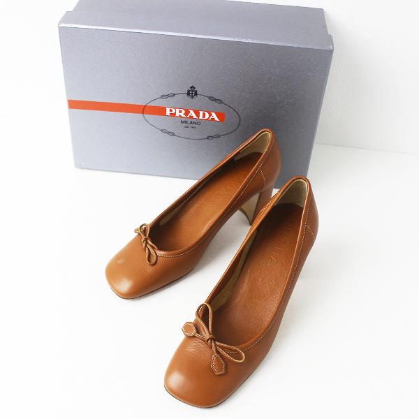 PRADA プラダ スクエアトゥ リボン パンプス 36/キャメル シューズ 靴 ヒール 【2400011146786】