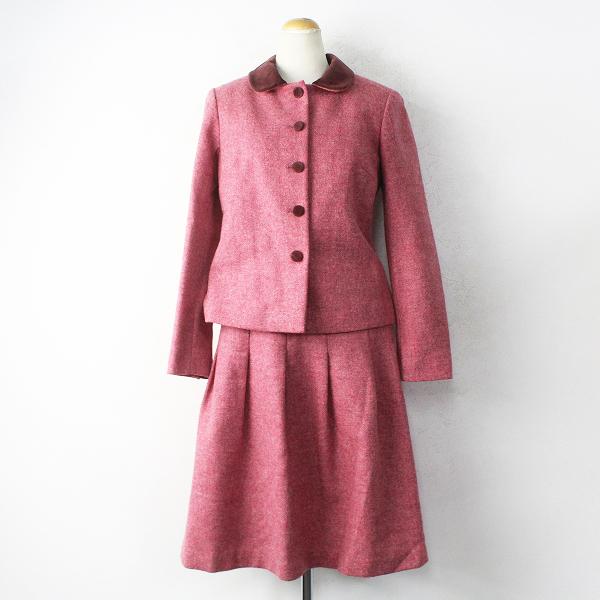 agnes b. アニエスベー ウール スカート スーツ セットアップ 38/ピンク ジャケット フレアスカート 上下【2400011149350】