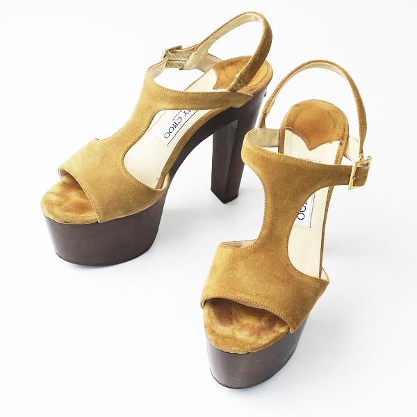 【オータムセール10%OFF!】JIMMY CHOO ジミーチュウ ウッドヒール スエード サンダル 36 1/2/キャメル シューズ 靴【2400011150554】