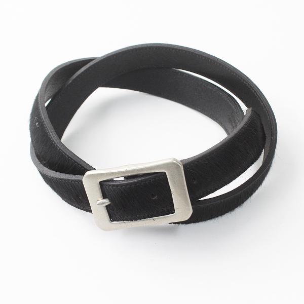 美品 DELUXE デラックス ハラコ レザー ベルト L/ブラック x シルバー 小物 革 メンズ MENS 【2400011164834】