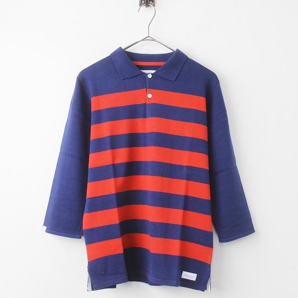 定価1.4万 DELUXE デラックス JAMES ラガー シャツ S/ネイビー レッド ポロシャツ メンズ【2400011165268】(B)