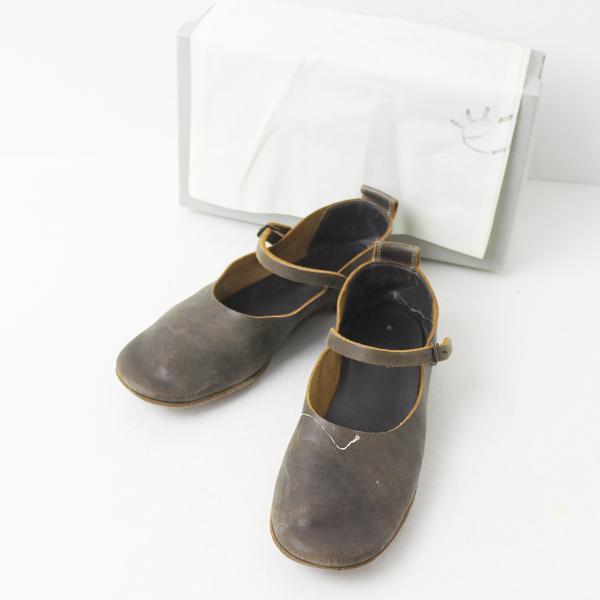 ebagos エバゴス レザー ストラップ フラット シューズ 23/チャコールブラウン 靴 ぺたんこ 【2400011177865】