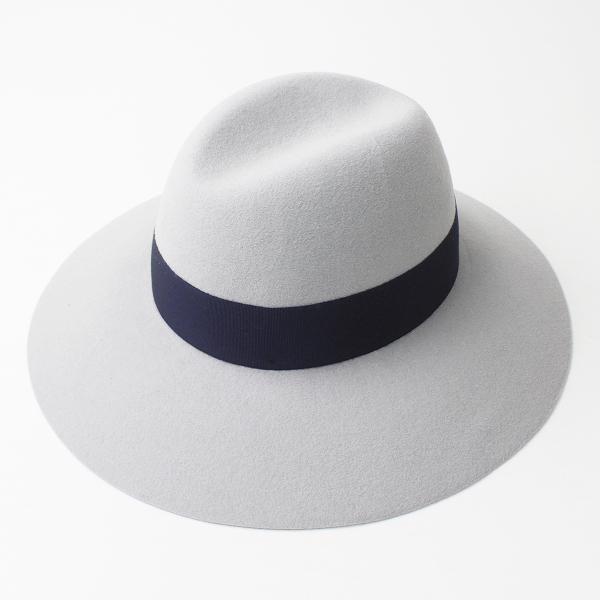 美品 Borsalino ボルサリーノ FUR FELT ラビット ウール フェルト ハット M/グレー 帽子 中折れ 高級 【2400011193636】